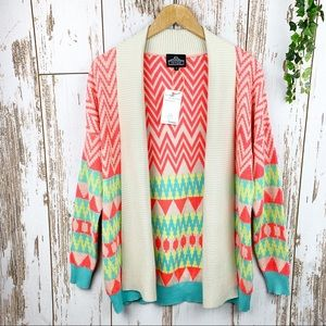 Angie NWOT Bright Tribal Open Front Long Cardigan